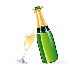 Champagne bottle and glass