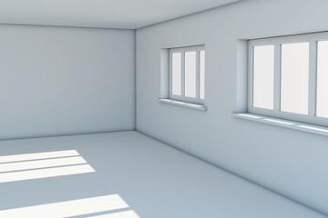 Empty new room with windows