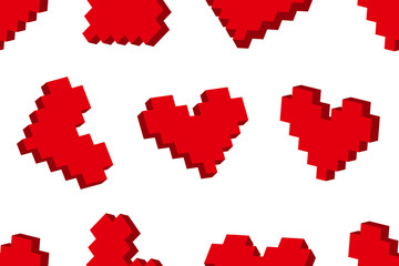 Zelfklevend Fotobehang Pixel Pixel hearts seamless background pattern. Vector illustration.