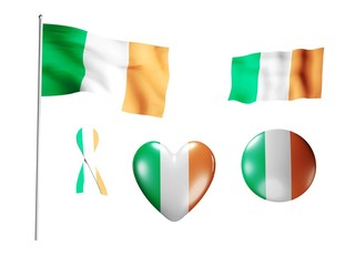 The Ireland flag - set of icons and flags