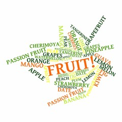 "Abstract word cloud for ""fruit"" with related tags and terms"