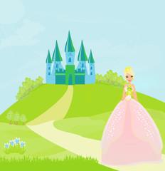 Printed kitchen splashbacks Castle Beautiful young princess holding a big green frog