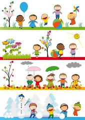 Kids in four season
