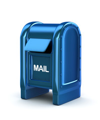 Blue mail box. 3d image. Isolated white background.
