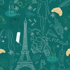 Seamless background with different Paris doodle elements