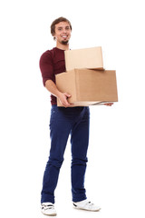 Happy guy with cardboard boxes over white background