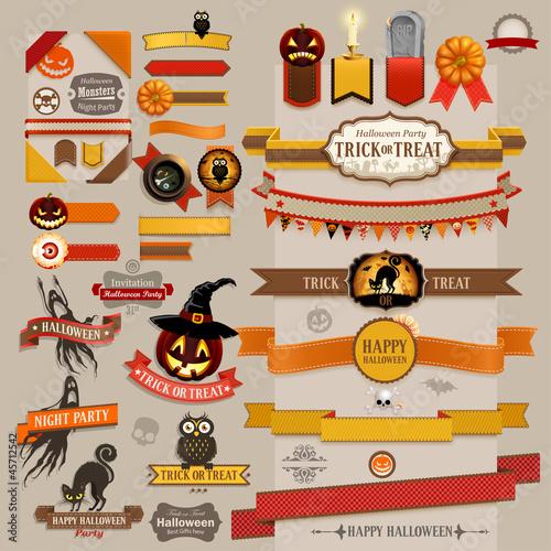 Wall mural Set of Halloween retro ribbons