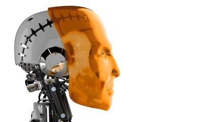 Seitenansicht - Roboter Kopf Orange