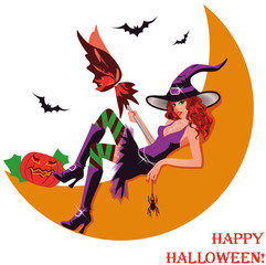 Halloween witch and moon. vector illustration