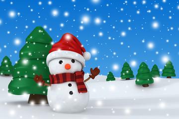 3d render of a snowman