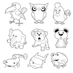 illustration of animals set Vector outline
