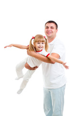 father playing with kid daughter isolated on white
