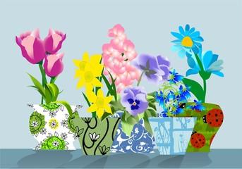 Wiosenne kwiatki w kolorowych doniczkach
