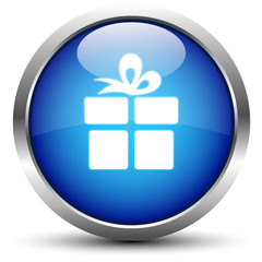 Geschenk Button Blau