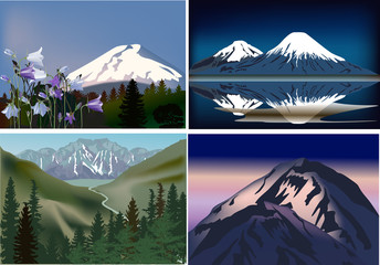 set of four mountains compositions