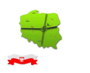 map green symbol Polish , Polish fla