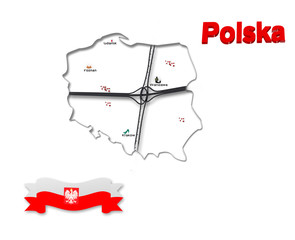 Map white symbol Polish , Polish flag