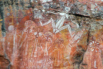 Wall Mural - Aboriginal rock art at Nourlangie, Australia