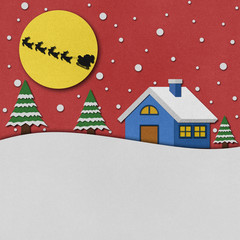 Christmas night with santa recycled papercraft.