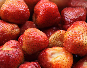 Fresh strawberries, red berries. Group of berries close up.