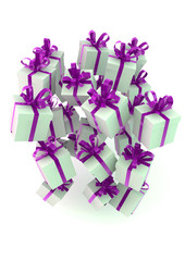 White gift boxes with purple ribbons