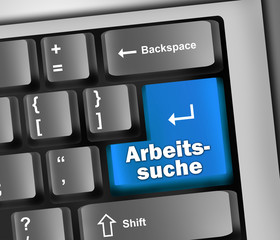 """Keyboard Illustration """"Arbeitssuche"""""""