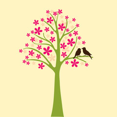 card with floral tree, vector love background
