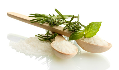 Tuinposter Kruiden 2 salt in spoons with fresh basil and rosemary isolated on white
