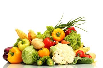 Keuken foto achterwand Keuken Fresh vegetables isolated on white