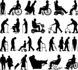 Elderly vector silhouettes