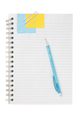 note book with ball pen and note