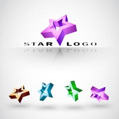 Company 3d vector Logo. Вest of stars
