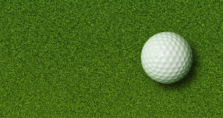 Golf Ball on Green Grass with Copy Space