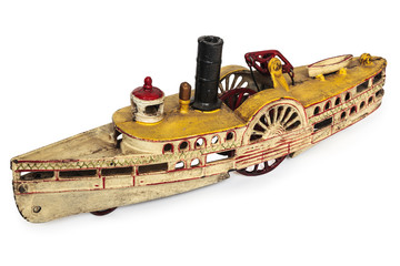 Toy replica of an old river boat isolated on white