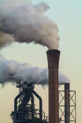 Air pollution of a factory with several chimneys