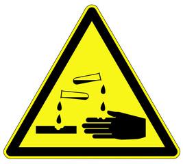 Warnzeichen - ätzender Stoff