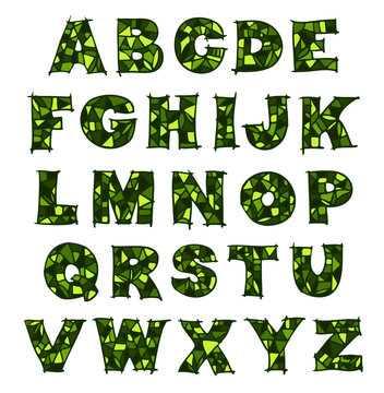 Green mosaic alphabet.