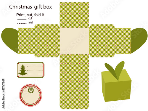 Christmas Gift Box Template.Christmas Gift Box Template Stock Image And Royalty Free