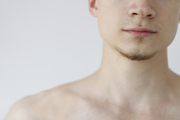 Young man's lower part of face