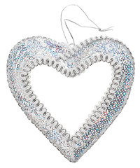 Christmas decoration silver heart, isolated on white