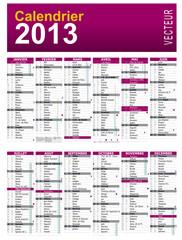 calendrier 2013 france vecteur