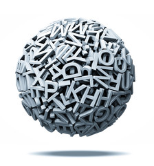 sphere made from letters