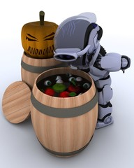 Robot bobbing for apples in a barrel