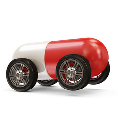 Red Pill on Wheels isolated on white background