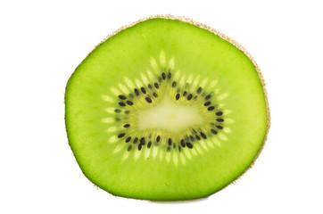 kiwi fruit and his sliced close up on white