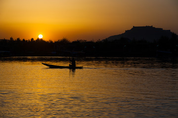 Boat Fort Sunset Dal Lake Srinagar Kashmir India