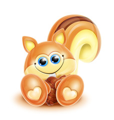 Whimsical Kawaii Cute Chipmunk