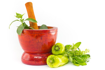 Fresh herbs and spices with wooden mortar isolated on white back