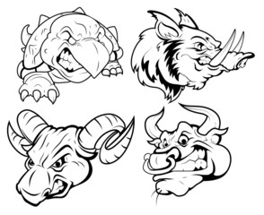 Angry Tatto Mascots Vector collection
