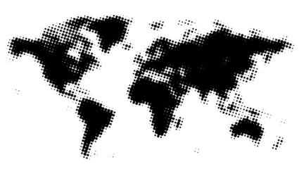 Poster Carte du monde Dotted world map